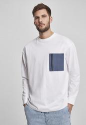 Pánske tričko s dlhým rukívom URBAN CLASSICS Boxy Big Contrast Pocket LS white