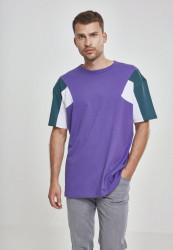 Pánske tričko s krátkym rukávom URBAN CLASSICS 3-Tone Tee ultraviolet/jasper/white