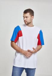 Pánske tričko s krátkym rukávom URBAN CLASSICS 3-Tone Tee wht/brightblue/firered