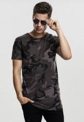 Pánske tričko s krátkym rukávom URBAN CLASSICS Camo Shaped Long Tee dark camo