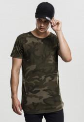 Pánske tričko s krátkym rukávom URBAN CLASSICS Camo Shaped Long Tee olive camo
