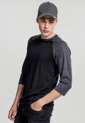 Pánske tričko s krátkym rukávom URBAN CLASSICS Contrast 3/4 Sleeve Raglan Tee blk/cha