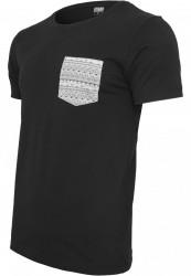 Pánske tričko s krátkym rukávom URBAN CLASSICS Contrast Pocket Tee blk/aztec #2
