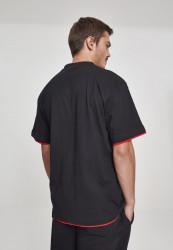 Pánske tričko s krátkym rukávom URBAN CLASSICS Contrast Tall Tee blk/red #2