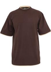 Pánske tričko s krátkym rukávom URBAN CLASSICS Contrast Tall Tee bro/bei