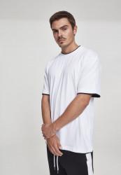 Pánske tričko s krátkym rukávom URBAN CLASSICS Contrast Tall Tee wht/blk