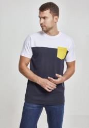 Pánske tričko s krátkym rukávom URBAN CLASSICS Fitted 3-Tone Pocket Tee nvy/wht/chromeyellow