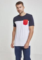 Pánske tričko s krátkym rukávom URBAN CLASSICS Fitted 3-Tone Pocket Tee white/navy/fire red