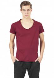 Pánske tričko s krátkym rukávom URBAN CLASSICS Fitted Peached Open Edge V-Neck Tee burgundy
