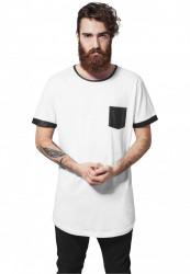 Pánske tričko s krátkym rukávom URBAN CLASSICS Long Shaped Leather Imitation Tee wht/blk