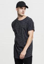Pánske tričko s krátkym rukávom URBAN CLASSICS Long Space Dye Turn Up Tee blk/wht