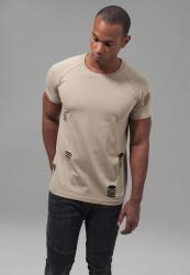 Pánske tričko s krátkym rukávom URBAN CLASSICS Ripped Raglan Tee warm sand