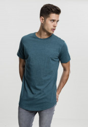 Pánske tričko s krátkym rukávom URBAN CLASSICS Shaped Melange Long Tee teal
