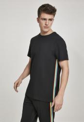 Pánske tričko s krátkym rukávom URBAN CLASSICS Side Taped Tee black/multicolour