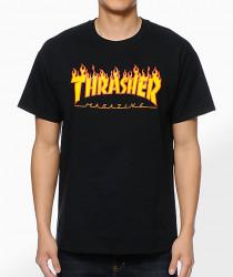 Pánske tričko Thrasher Flame Logo čierne Farba: Čierna,