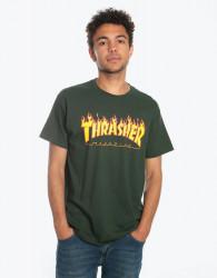 Pánske tričko Thrasher Flame logo forest green Farba: Zelená,