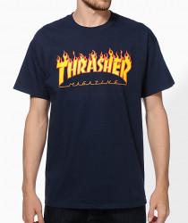 Pánske tričko Thrasher Flame logo navy Farba: Modrá,