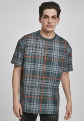 Pánske tričko URBAN CLASSICS AOP Check Oversized Heavy Tee bottlegreen/orange