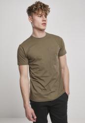 Pánske tričko URBAN CLASSICS Basic Pocket Tee olive