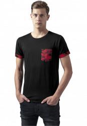 Pánske tričko URBAN CLASSICS CAMO CONTRAST POCKET TEE RED CAMO