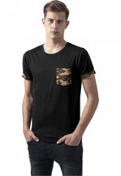 Pánske tričko URBAN CLASSICS CAMO CONTRAST POCKET TEE WOOD CAMO