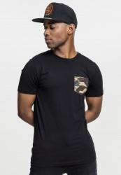 Pánske tričko URBAN CLASSICS CAMO POCKET TEE blk/camo