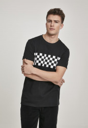 Pánske tričko URBAN CLASSICS Check Panel Tee black/white
