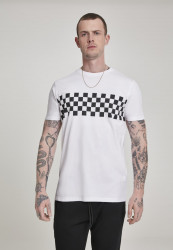 Pánske tričko URBAN CLASSICS Check Panel Tee white/black
