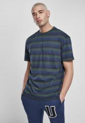 Pánske tričko URBAN CLASSICS College Stripe Tee bottlegreen/midnightnavy