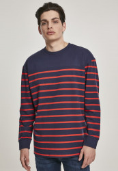 Pánske tričko URBAN CLASSICS Color Block Stripe Boxy LS navy/red