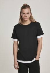 Pánske tričko URBAN CLASSICS Full Double Layered Tee black/white