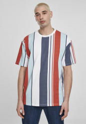 Pánske tričko URBAN CLASSICS Heavy Oversized Big AOP Stripe Tee burned red