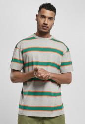 Pánske tričko URBAN CLASSICS Light Stripe Oversize grey/junglegreen