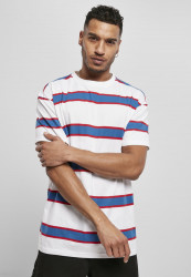 Pánske tričko URBAN CLASSICS Light Stripe Oversize white/sportyblue