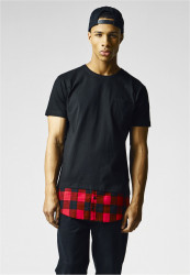Pánske tričko URBAN CLASSICS Long Shaped Flanell Bottom Pocket Tee blk/blk/red