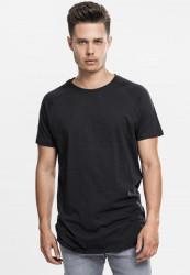 Pánske tričko URBAN CLASSICS LONG SHAPED SLUB RAGLAN TEE BLACK