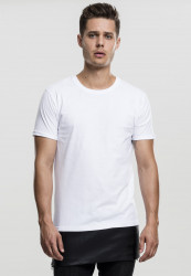 Pánske tričko URBAN CLASSICS LONG ZIPPED LEATHER IMITATION BOTTOM TEE WHT/BLK