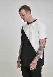 Pánske tričko URBAN CLASSICS Oversize Asymmetric Harlequin Tee white/black