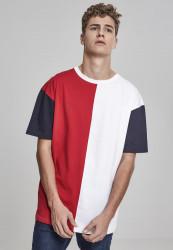 Pánske tričko URBAN CLASSICS Oversize Harlequin Tee red/white/navy