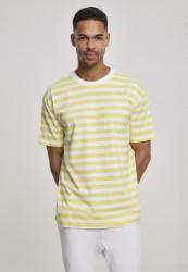 Pánske tričko URBAN CLASSICS Oversized Yarn Dyed Bold Stripe Tee yellow/white