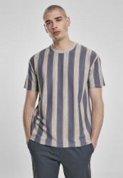 Pánske tričko URBAN CLASSICS Printed Oversized Bold Stripe Tee vintageblue