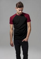 Pánske tričko URBAN CLASSICS RAGLAN CONTRAST TEE blk/burgundy