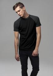Pánske tričko URBAN CLASSICS RAGLAN CONTRAST TEE blk/cha