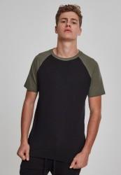 Pánske tričko URBAN CLASSICS RAGLAN CONTRAST TEE blk/olive