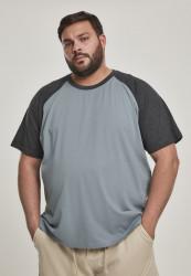 Pánske tričko URBAN CLASSICS Raglan Contrast Tee dustyblue/charcoal
