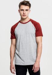 Pánske tričko URBAN CLASSICS RAGLAN CONTRAST TEE grey/rusty