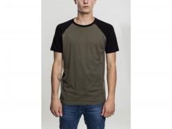 Pánske tričko URBAN CLASSICS RAGLAN CONTRAST TEE olv/blk