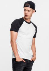 Pánske tričko URBAN CLASSICS RAGLAN CONTRAST TEE wht/blk