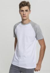 Pánske tričko URBAN CLASSICS RAGLAN CONTRAST TEE wht/gry