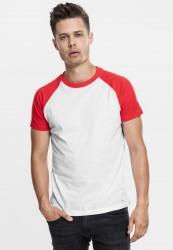 Pánske tričko URBAN CLASSICS RAGLAN CONTRAST TEE wht/red